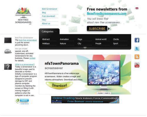 スクリーンセーバーが無料でダウンロードできる「NewFreeScreensavers.com」1.jpg