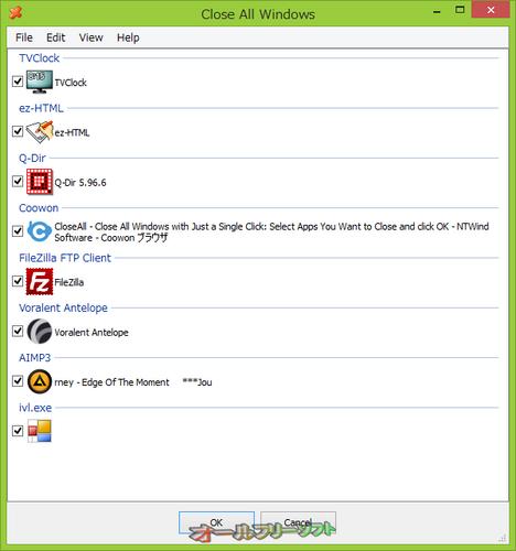 終了するプログラムを選択できるようになったClose All Windows 2.0