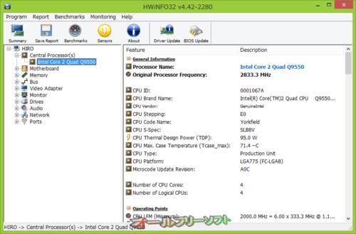 センサー画面が改良されたHWiNFO32 4.42.2280