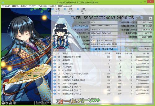 Shizuku Editionに新テーマ(平安小町&蛍)が追加されたCrystalDiskInfo 6.5.0